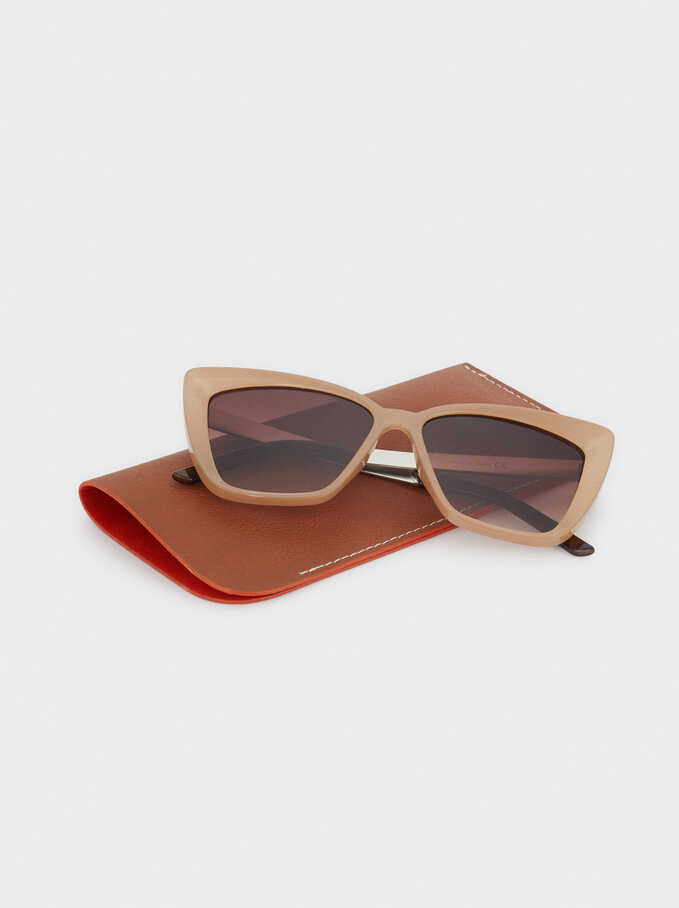 Resin Sunglasses, Beige, hi-res