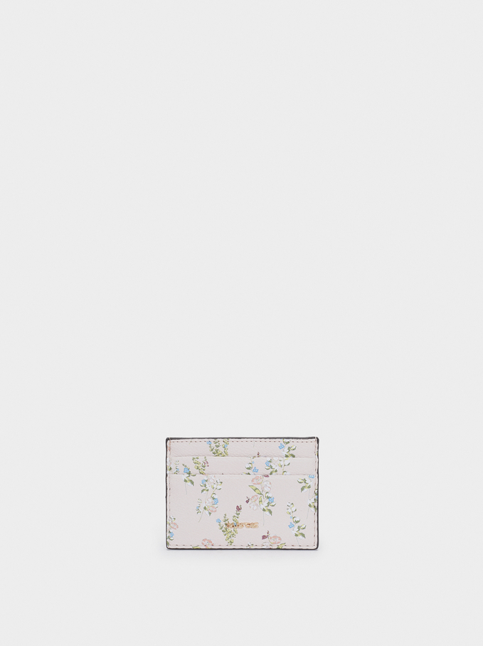 Floral Printed Cardholder, Pink, hi-res