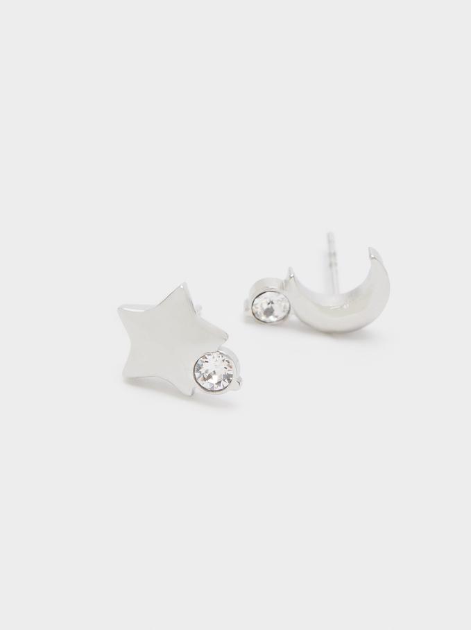Short Stainless Steel Swarovski Crystals Earrings, Silver, hi-res