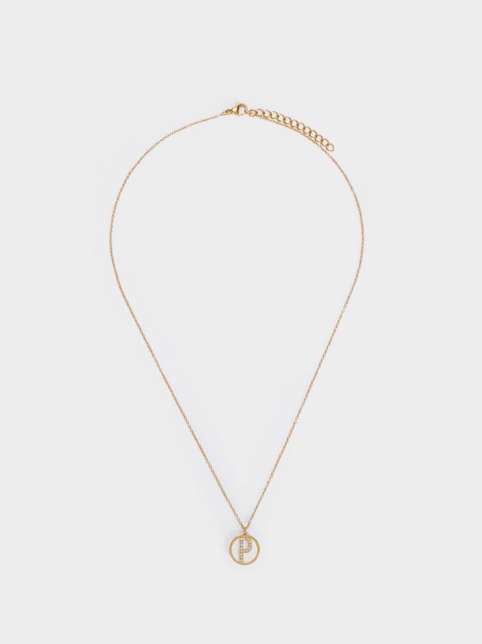 Short Steel Necklace With Letter P, Golden, hi-res