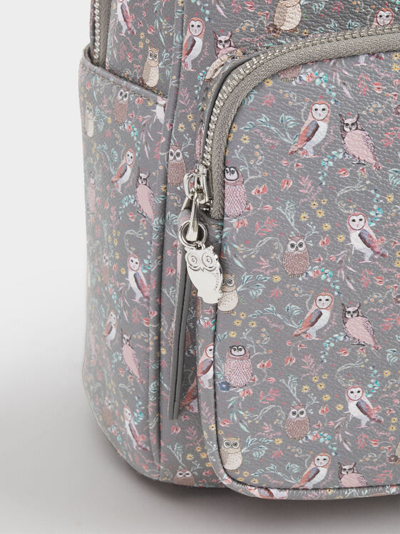 Owl Print Backpack, Brown, hi-res