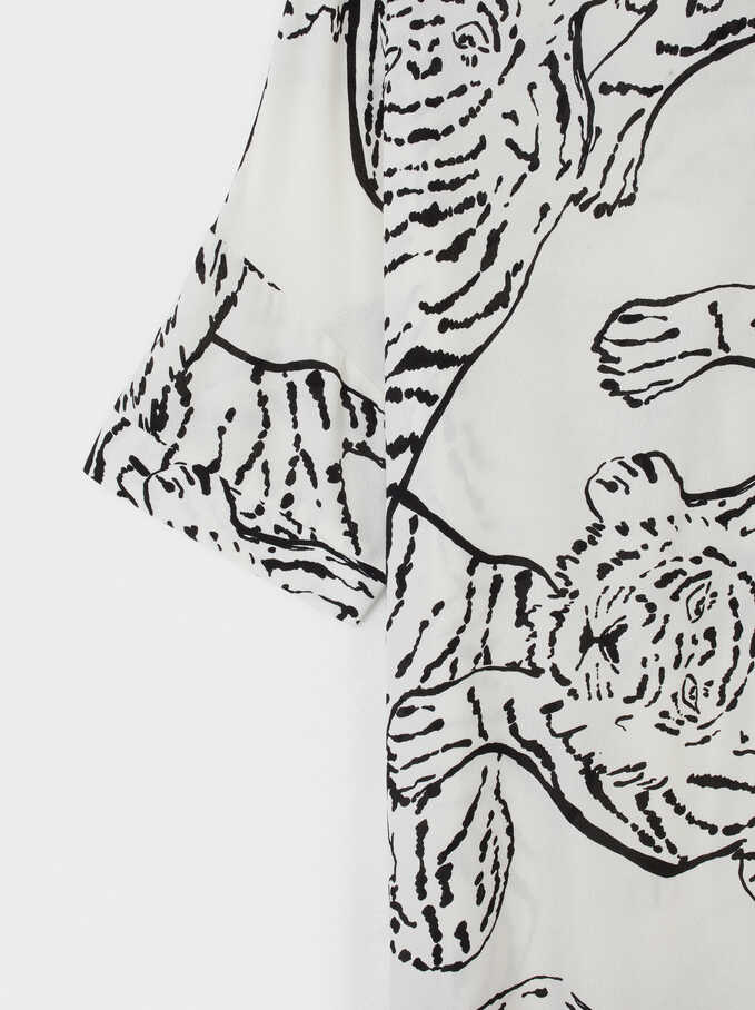Animal Print Shirt Dress, White, hi-res