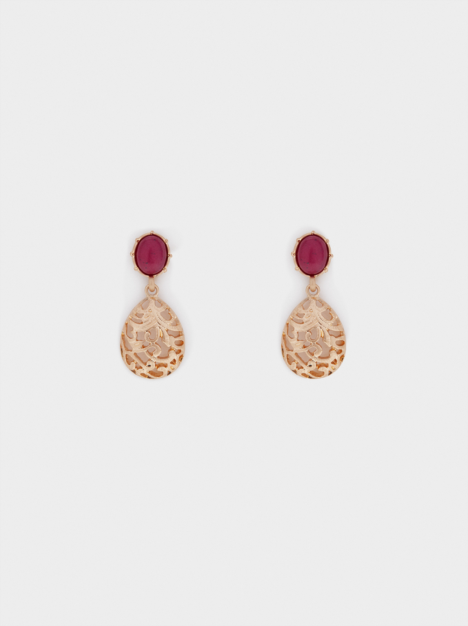 Earrings With  Stone, Red, hi-res