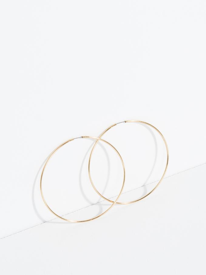 Basic Large Hoop-Earrings, Golden, hi-res