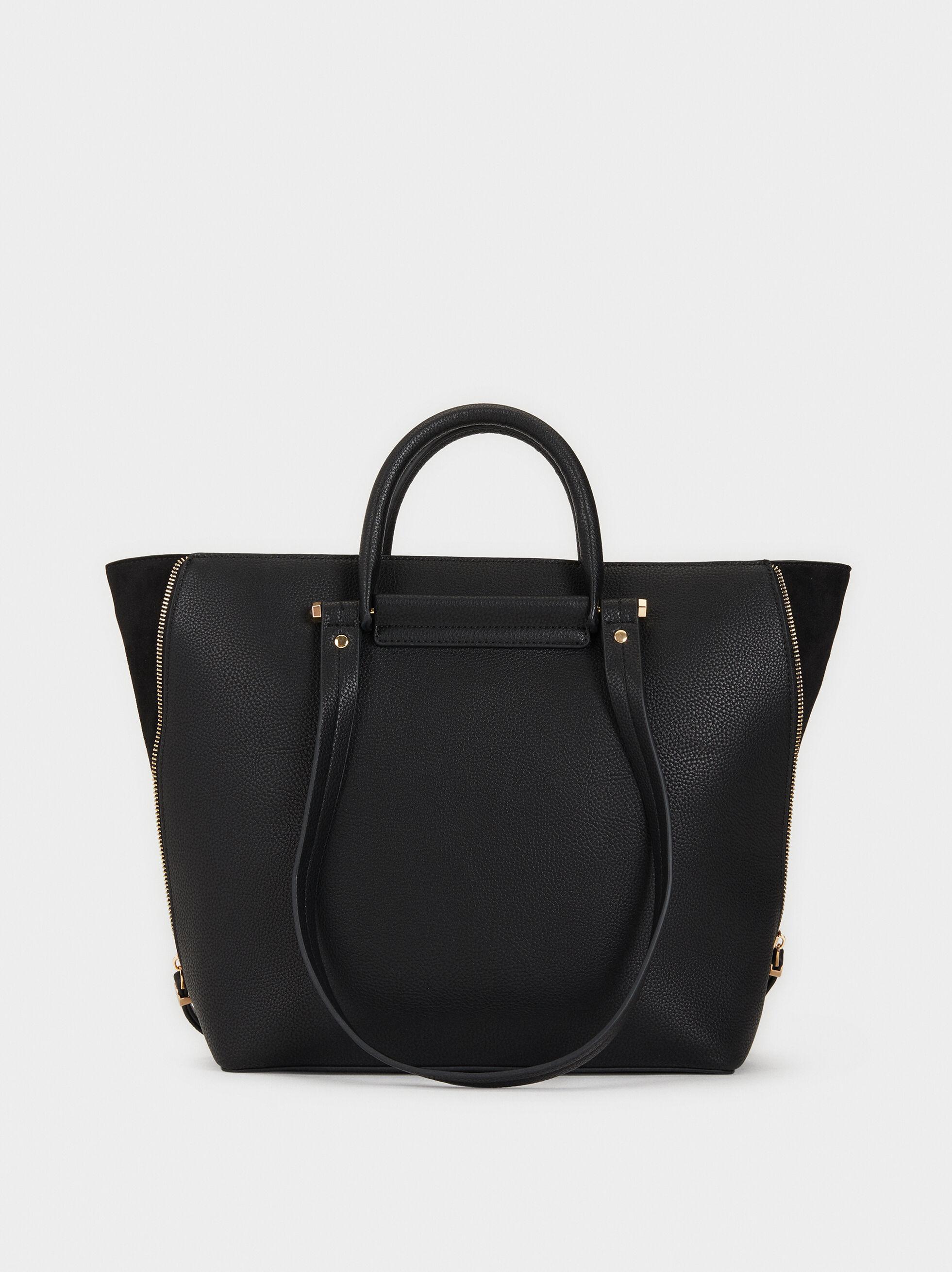 Tote Bag With Faux Suede Trim, , hi-res