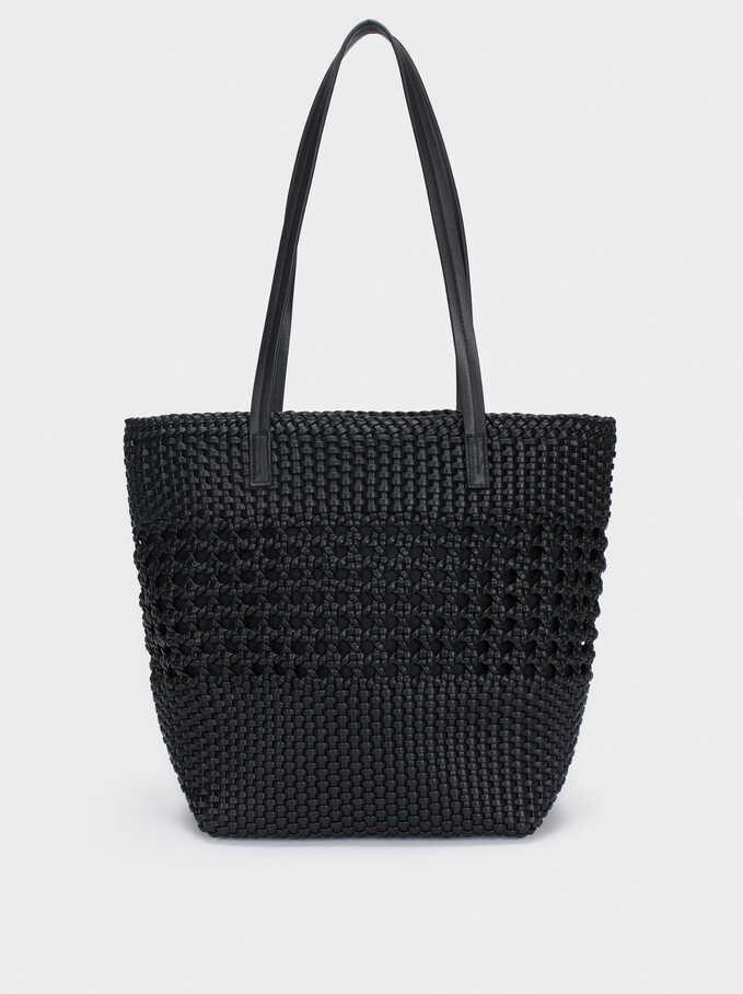 Bolso Shopper Trenzado, Negro, hi-res