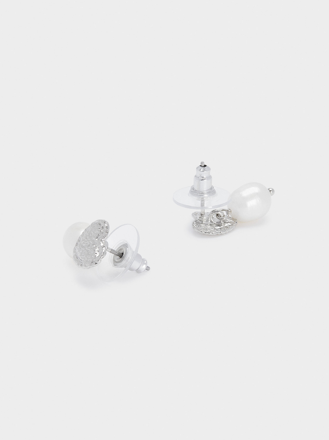 Short Earrings With Pearl And Heart, Silver, hi-res