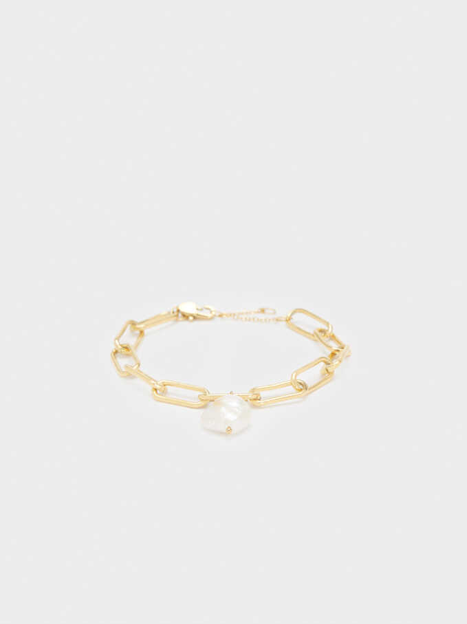 Gold-Toned Steel Bracelet With Pearl , Golden, hi-res