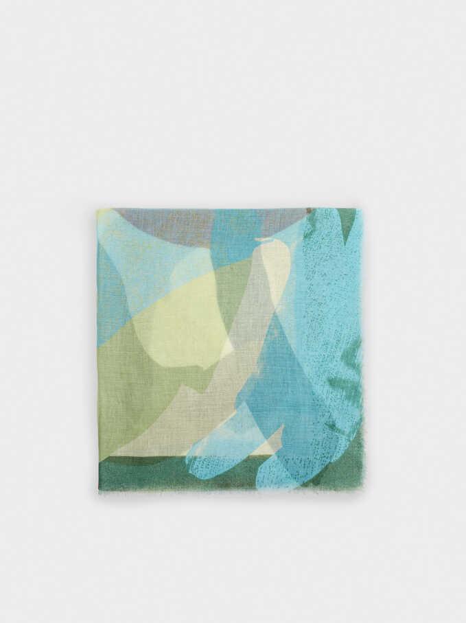 Pañuelo Estampado Fabricado Con Materiales Reciclados, Verde, hi-res