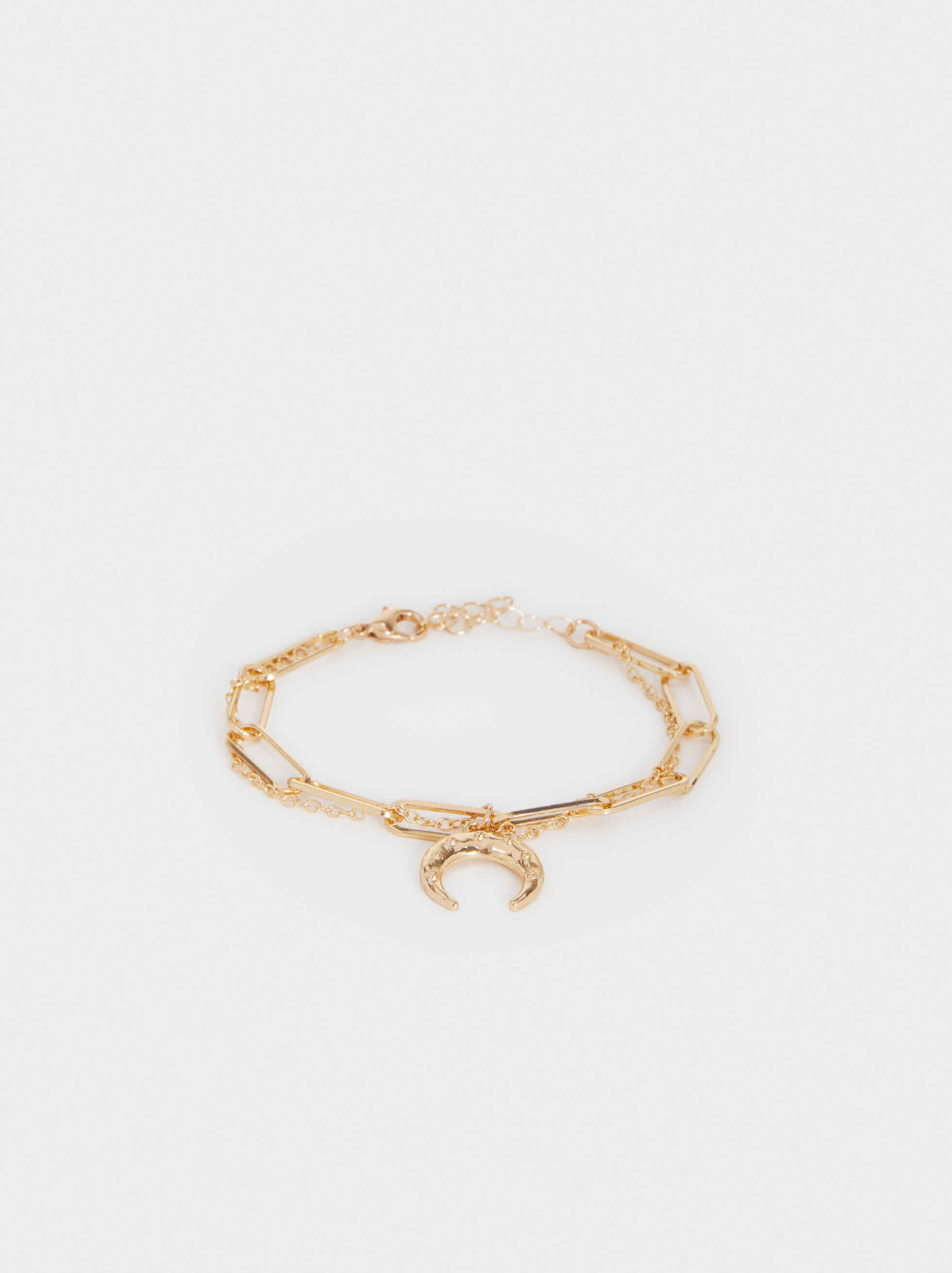 Gold Bracelet With Crescent Charm, Golden, hi-res