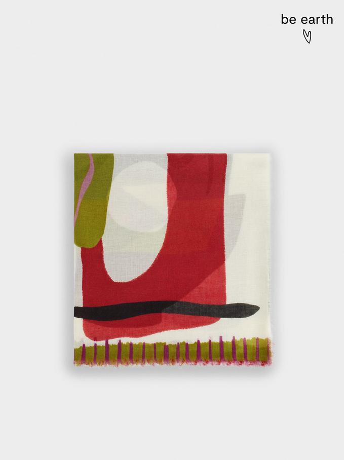 Foulard Stampato In Materiali Riciclati, Multicolore, hi-res