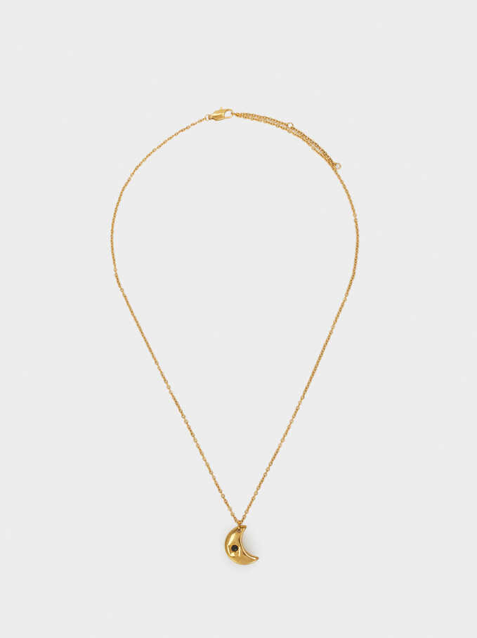 Short Steel Necklace, Golden, hi-res