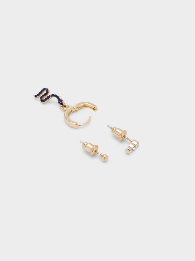 Set Of Hoop Earrings With Snake, Blue, hi-res