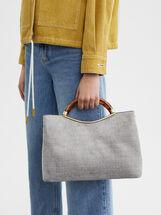 Fake Suede Tote Bag With Handle, Grey, hi-res