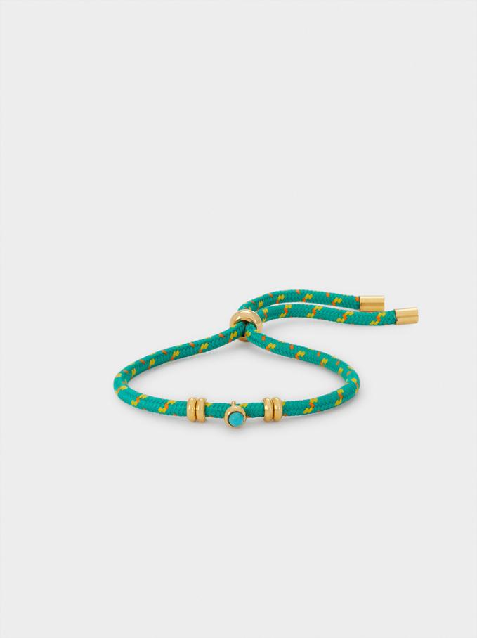 Multicoloured Adjustable Stainless Steel Bracelet, Green, hi-res