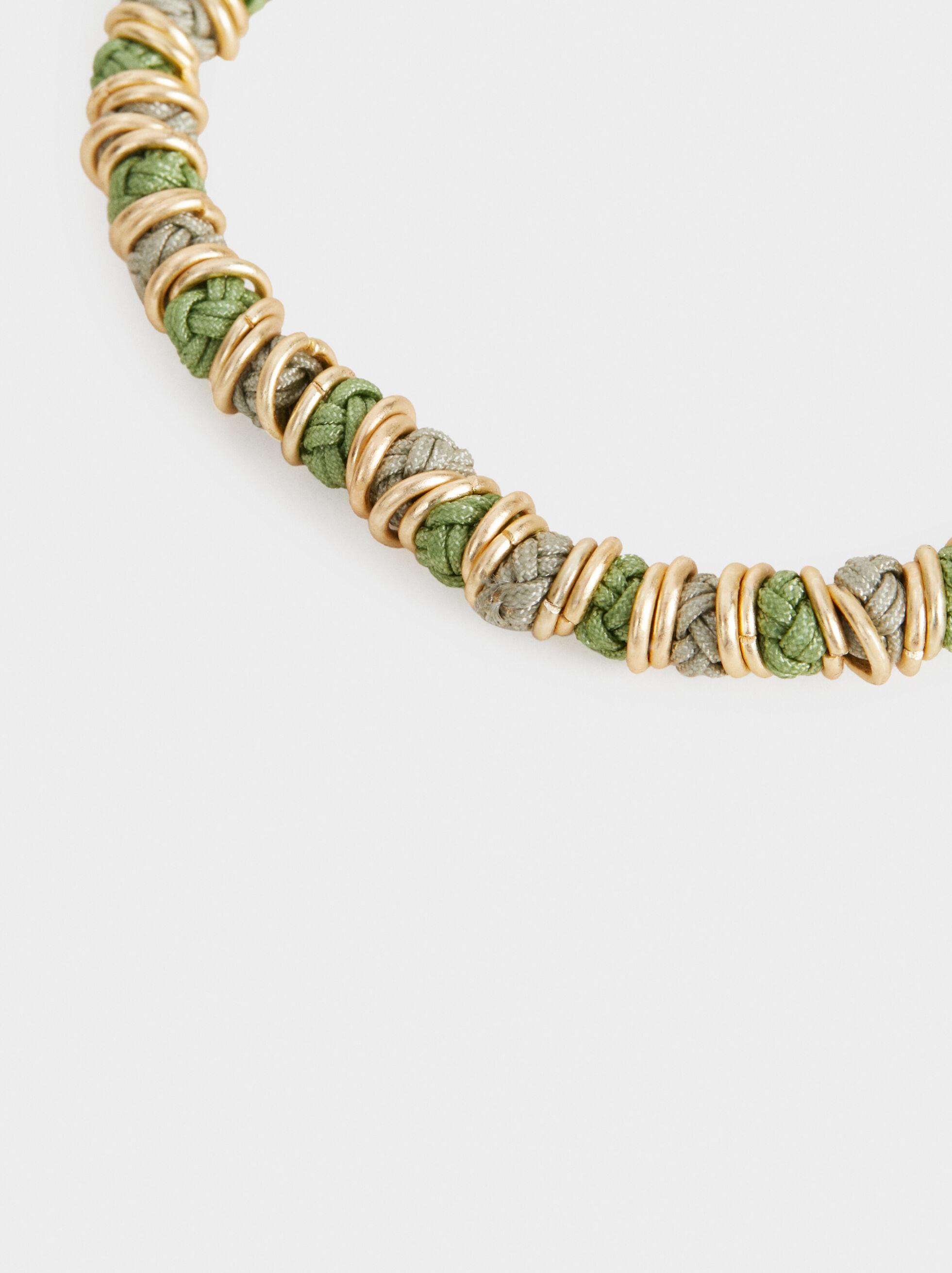 Stone Story Adjustable Bracelet With Metal Appliqu, Multicolor, hi-res