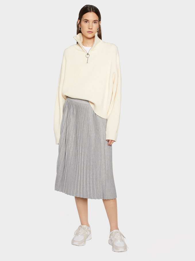 Plain Pleated Skirt, Grey, hi-res
