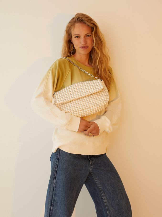 Shoulder Bag With Chain Handle, Ecru, hi-res