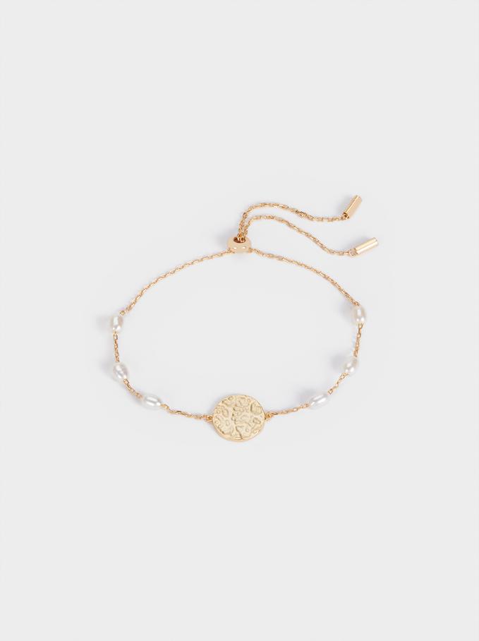 Adjustable 925 Silver Bracelet With Pearls, Beige, hi-res