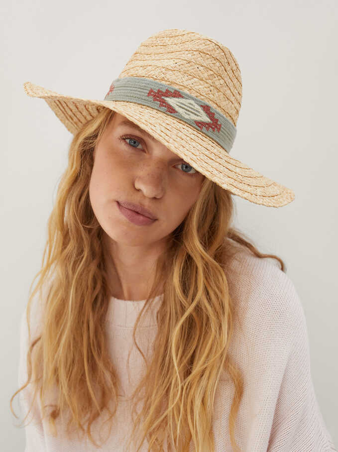 Braided Hat With Contrast Band, Ecru, hi-res