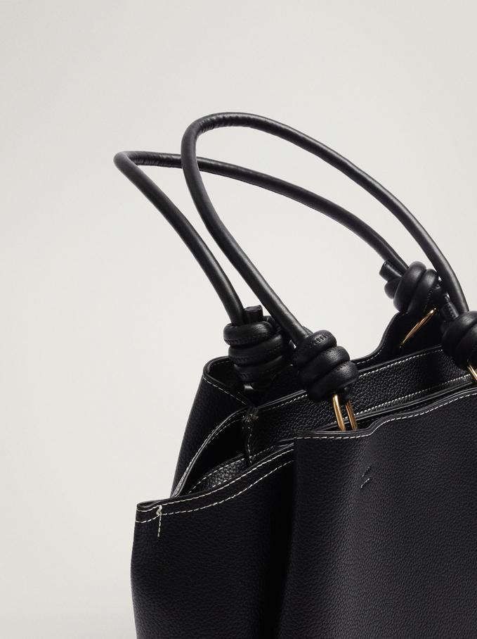 Shoulder Bag With Knotted Handle, Black, hi-res