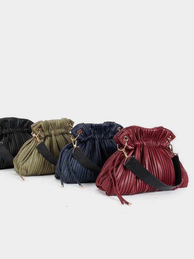 Pleated Bucket Bag, Khaki, hi-res