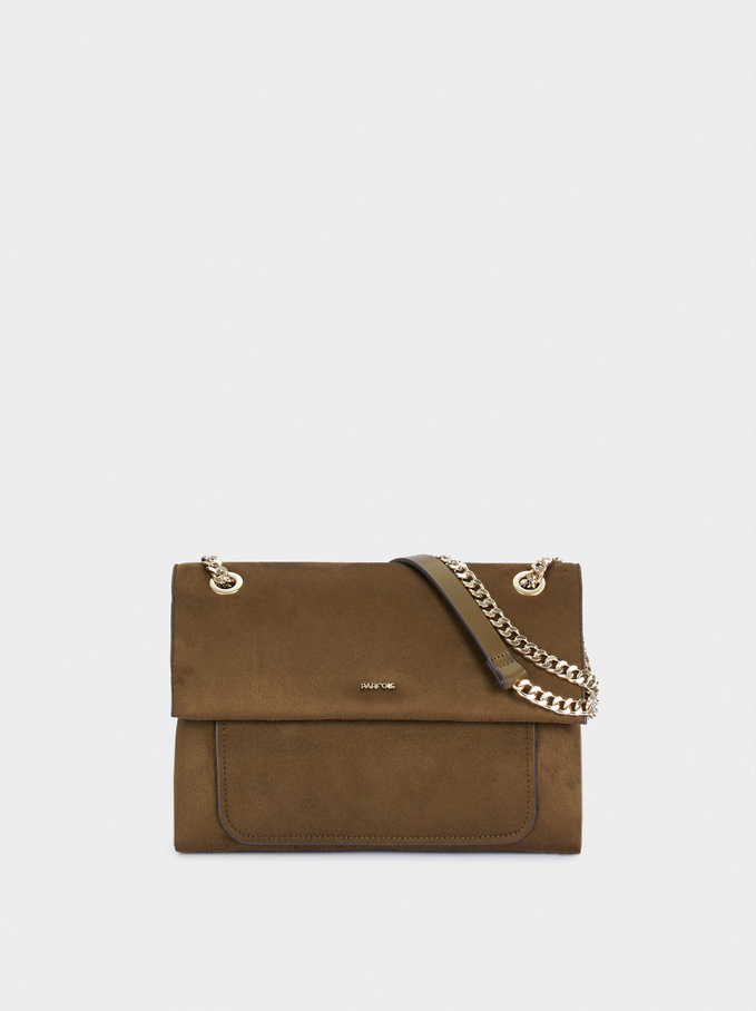 Faux Suede Crossbody Bag With Chain Handle, Khaki, hi-res