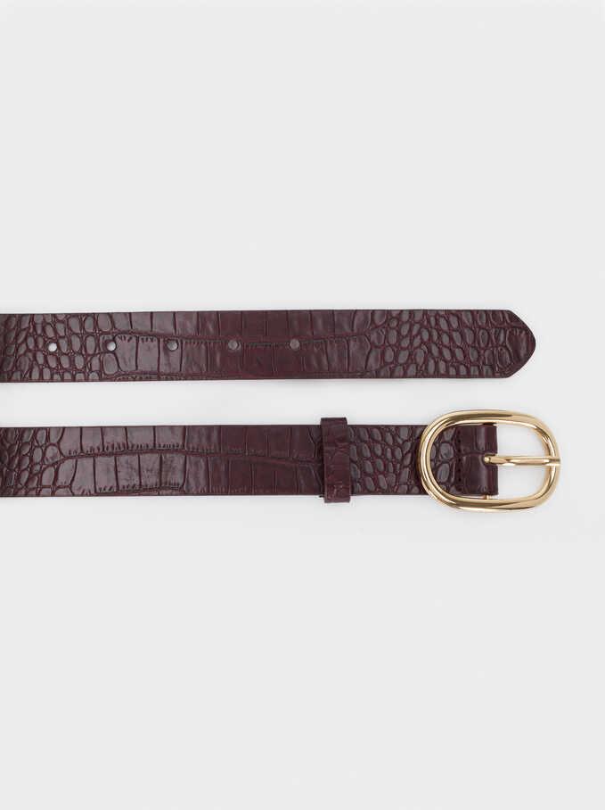 Cinturón Estrecho Grabado Serpiente, Burdeos, hi-res