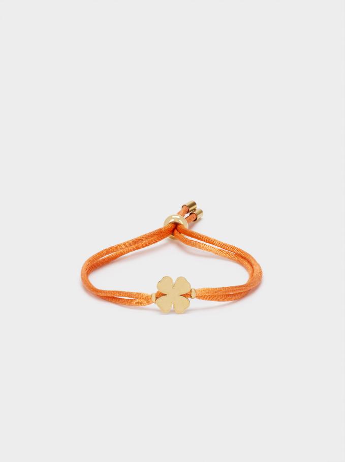 Adjustable Steel Bracelet With Shamrock, Orange, hi-res