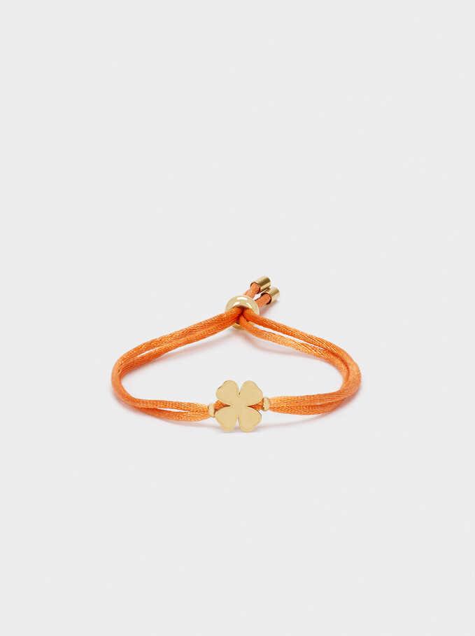 Bracelet Réglable En Acier Trèfle, Orange, hi-res