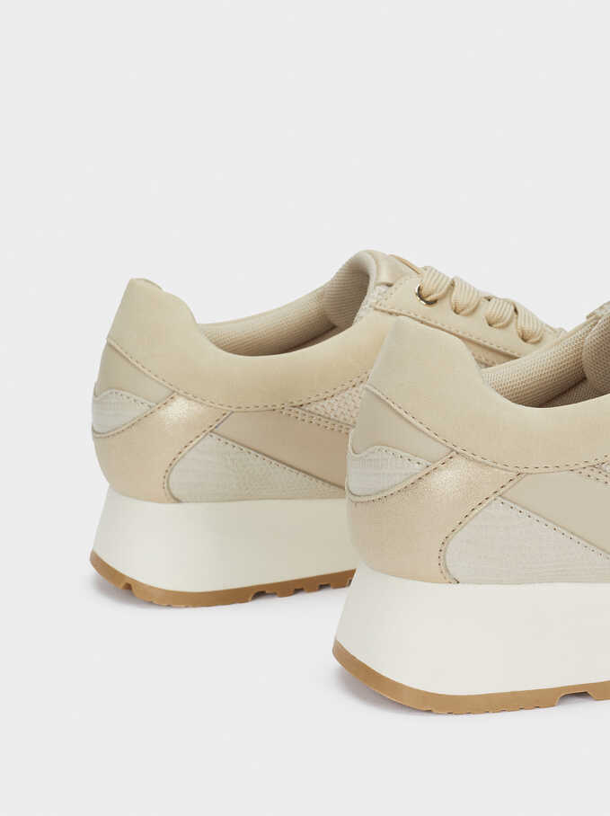 Contrast Sneakers, Beige, hi-res