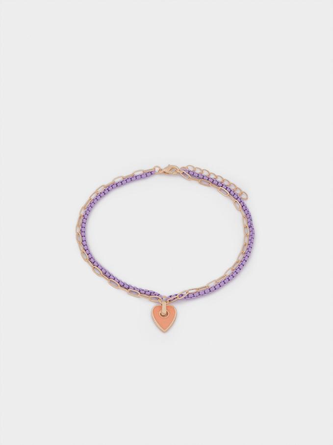 Bracelet De Cheville Cœur, Multicolore, hi-res