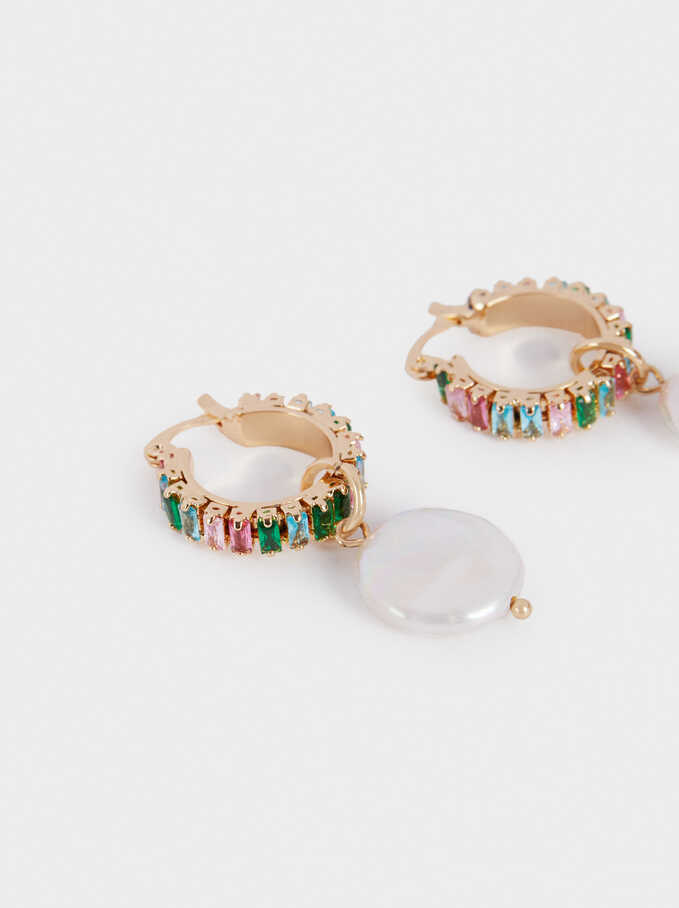 Hoop Earrings With Pearl And Crystals, Multicolor, hi-res