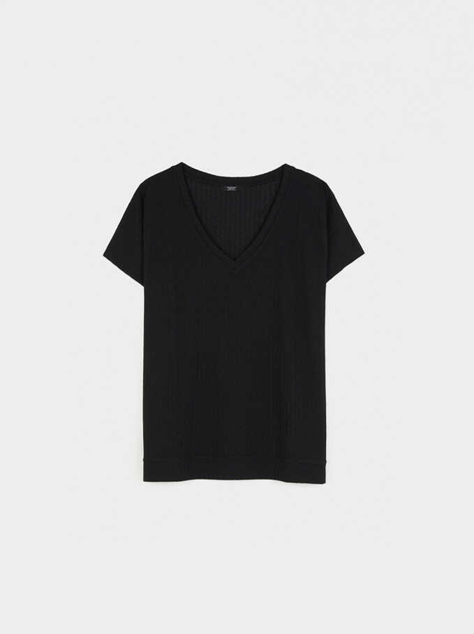 T-Shirt Made From Recycled Materials, Black, hi-res