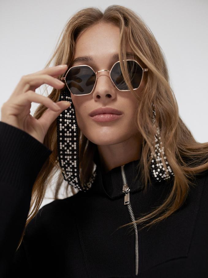 Hexagonal Metal Sunglasses, Golden, hi-res