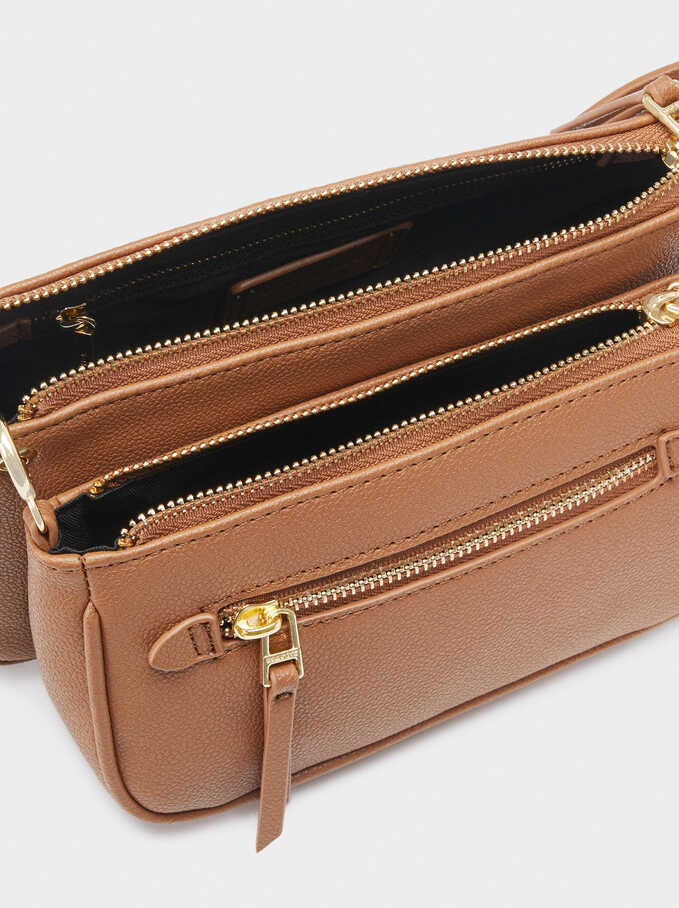Crossbody Bag With Multi-Way Double Strap, Camel, hi-res