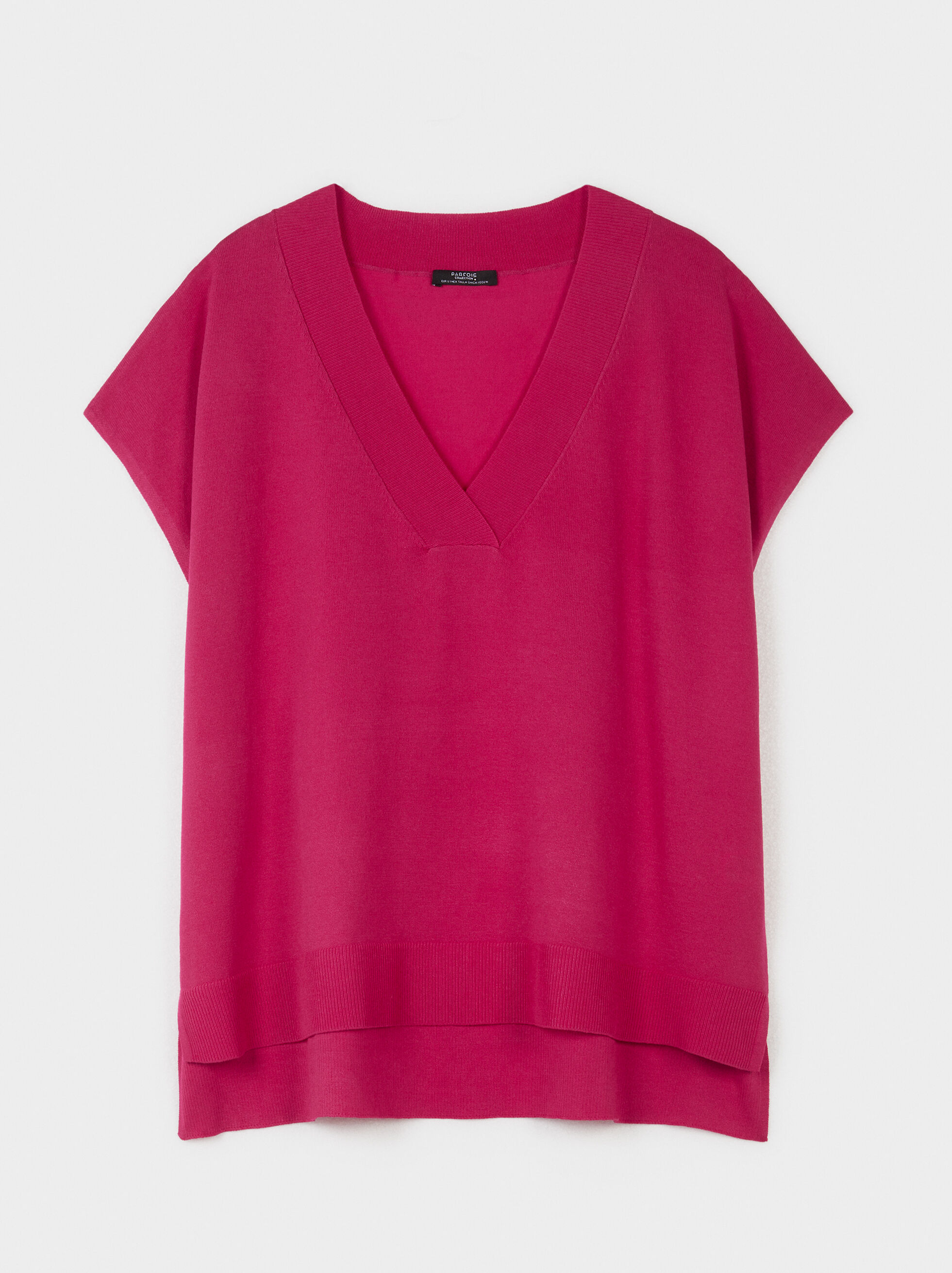 V-Neck Sweater, Pink, hi-res