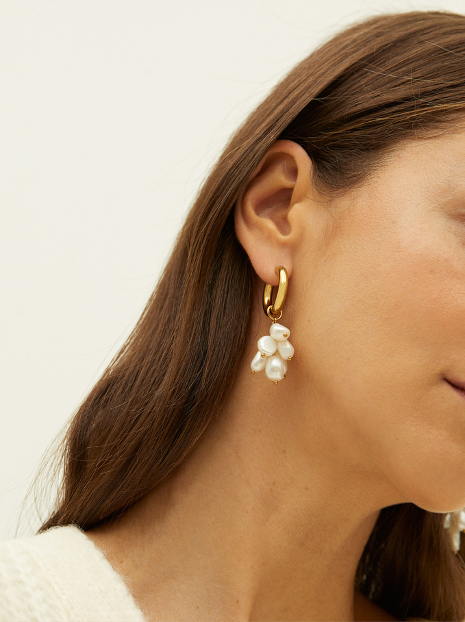 Steel Long Earrings With Pearls, Golden, hi-res