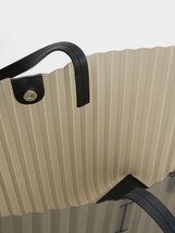 Pleated Vinyl Tote Bag, Black, hi-res