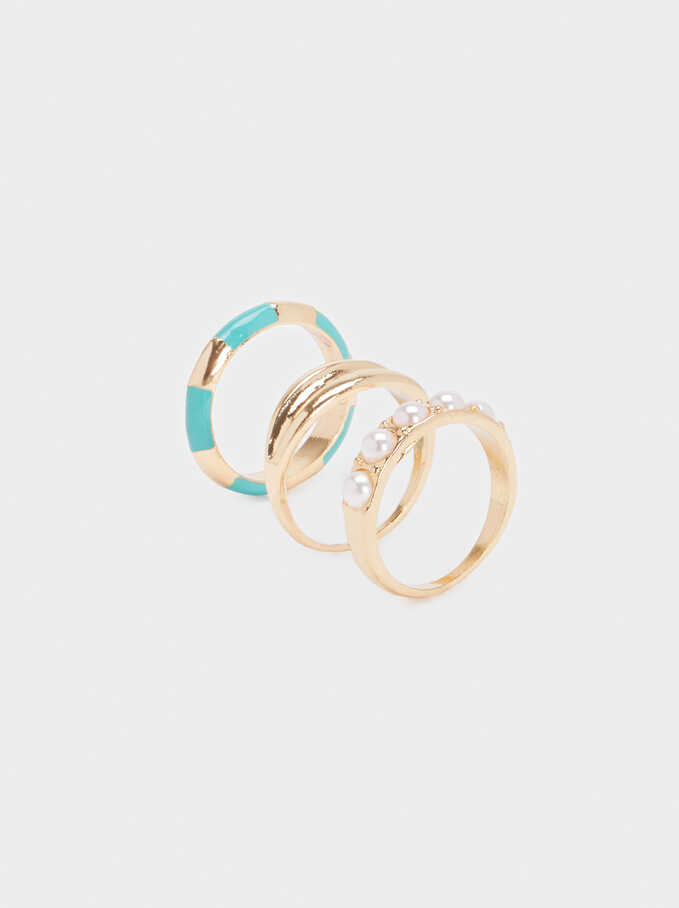 Set Of Multicoloured Rings, Beige, hi-res