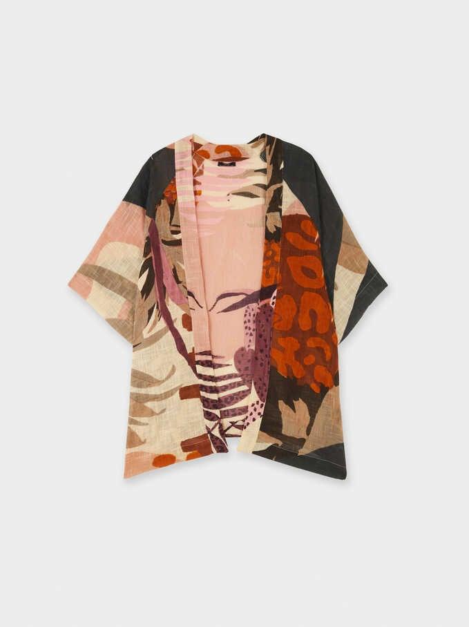 Floral Print Kimono, Pink, hi-res