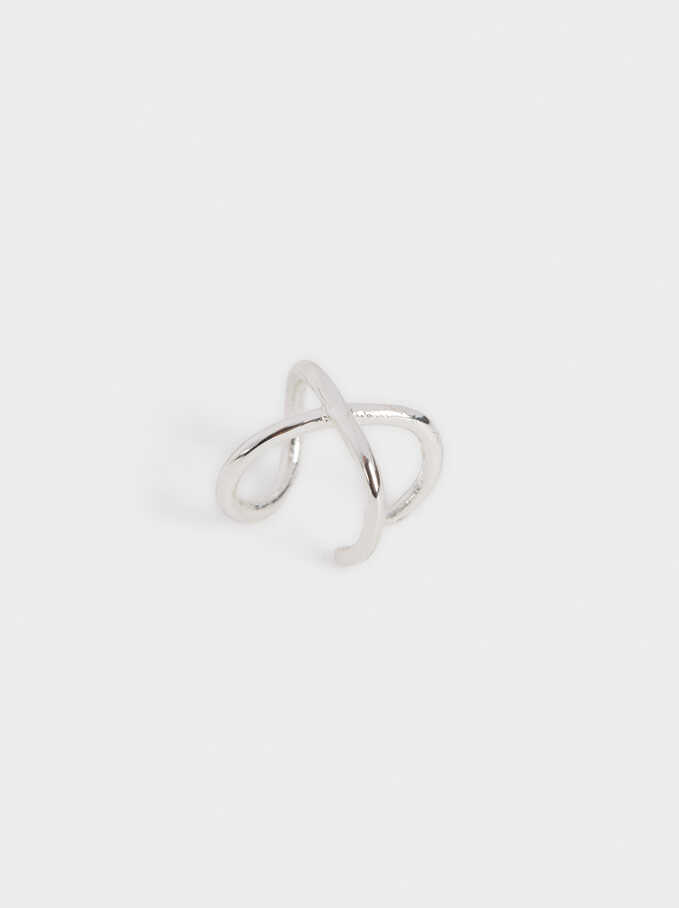 Small Silver-Plated Earcuff, Silver, hi-res