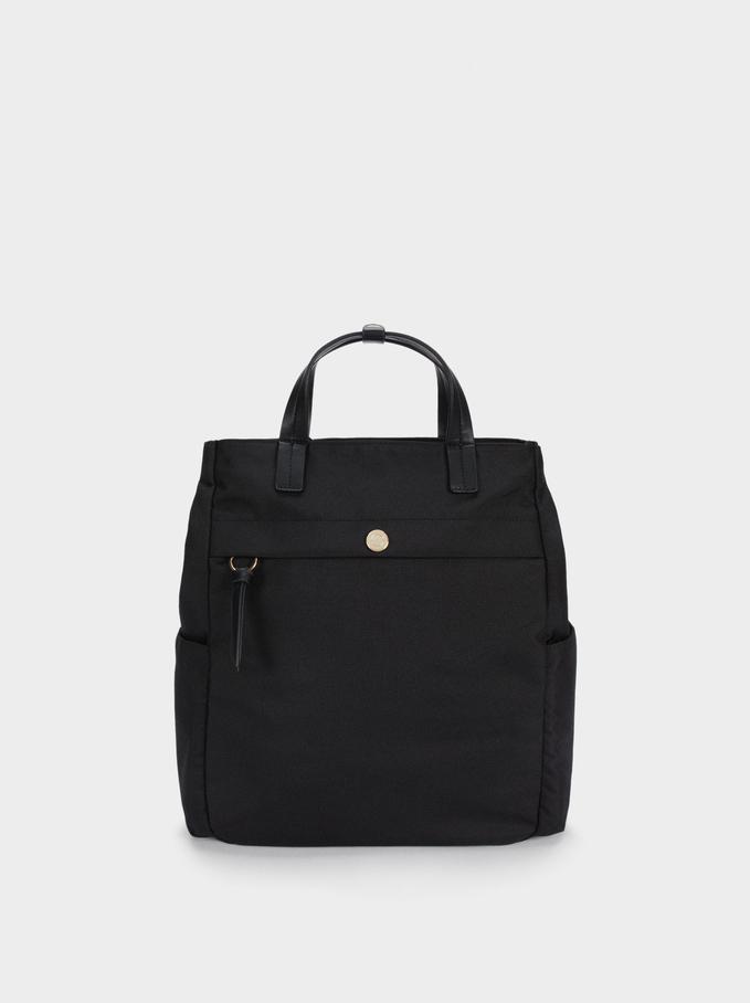Plecak Z Nylonu Z Materialów Z Recyklingu, Czarny, hi-res