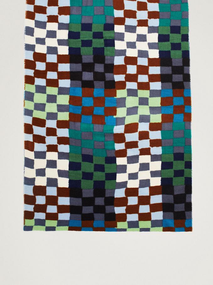 Sciarpa Plissettata Stampata, Multicolore, hi-res