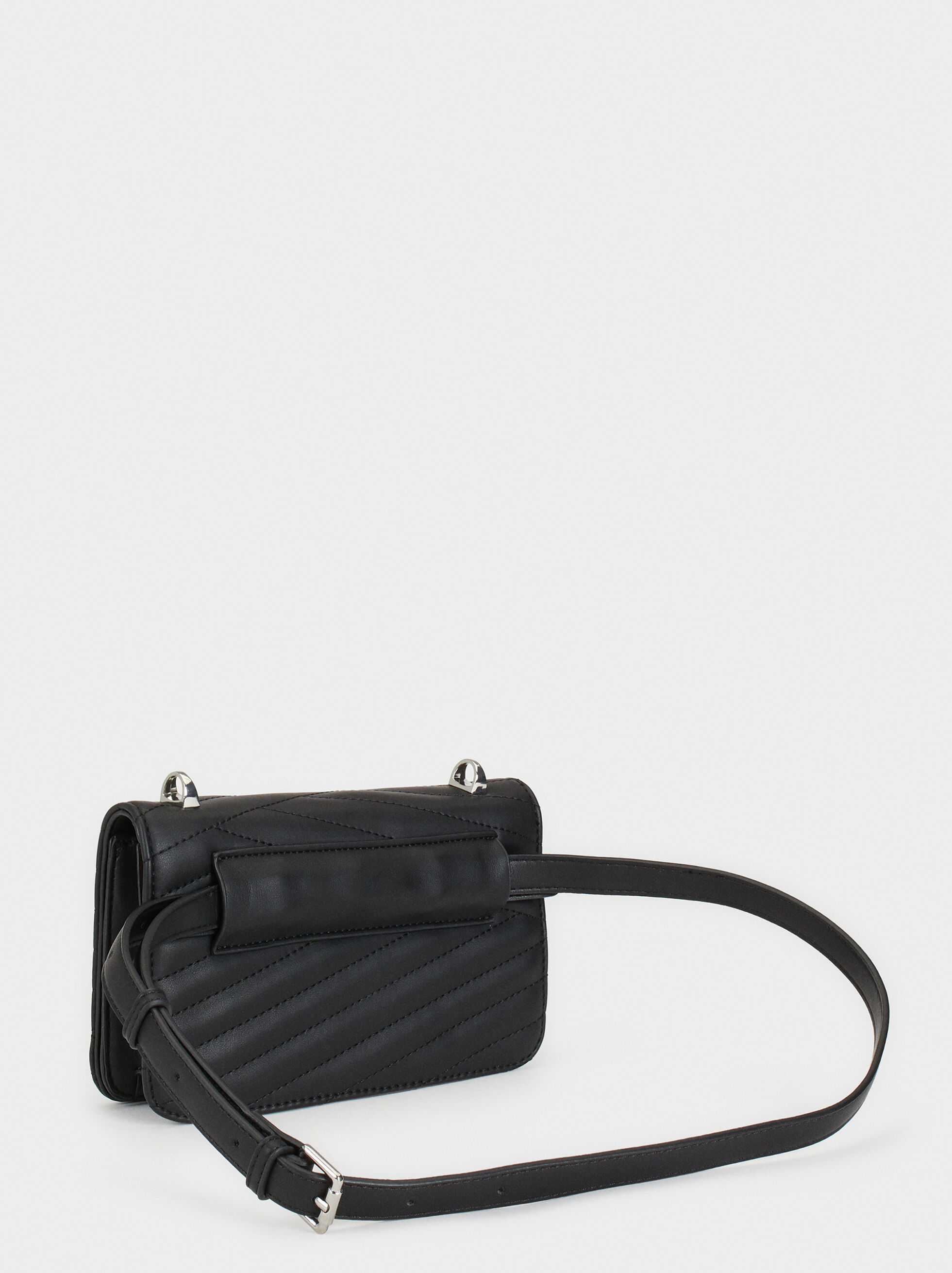 Quilted Crossbody Belt Bag, Black, hi-res