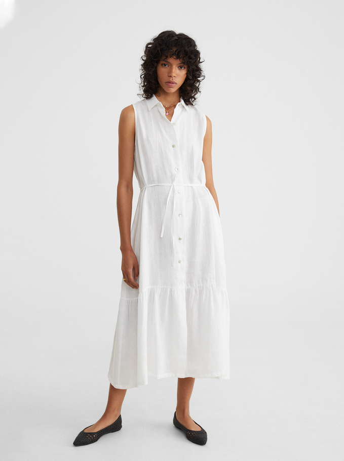 Linen Shirt Dress, White, hi-res