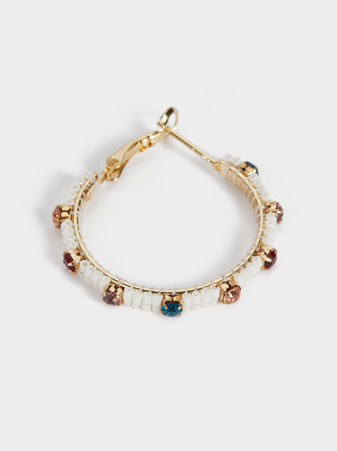 Small Hoop Earrings With Crystals And Beads, Multicolor, hi-res