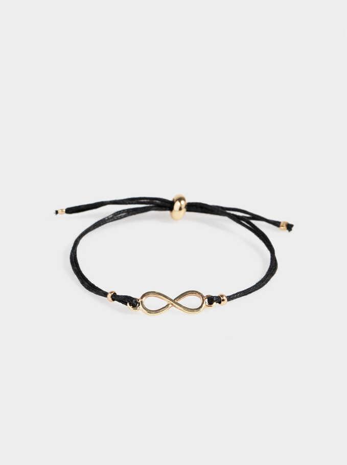 Adjustable Bracelet With Infinity Sign, Black, hi-res