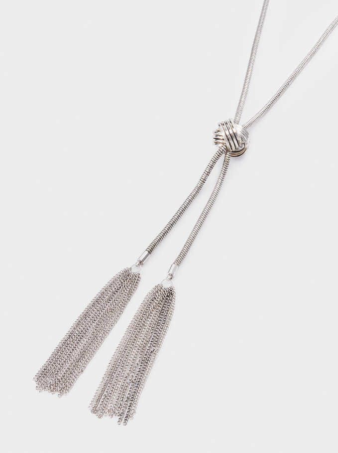 Long Silver-Plated Necklace, Silver, hi-res
