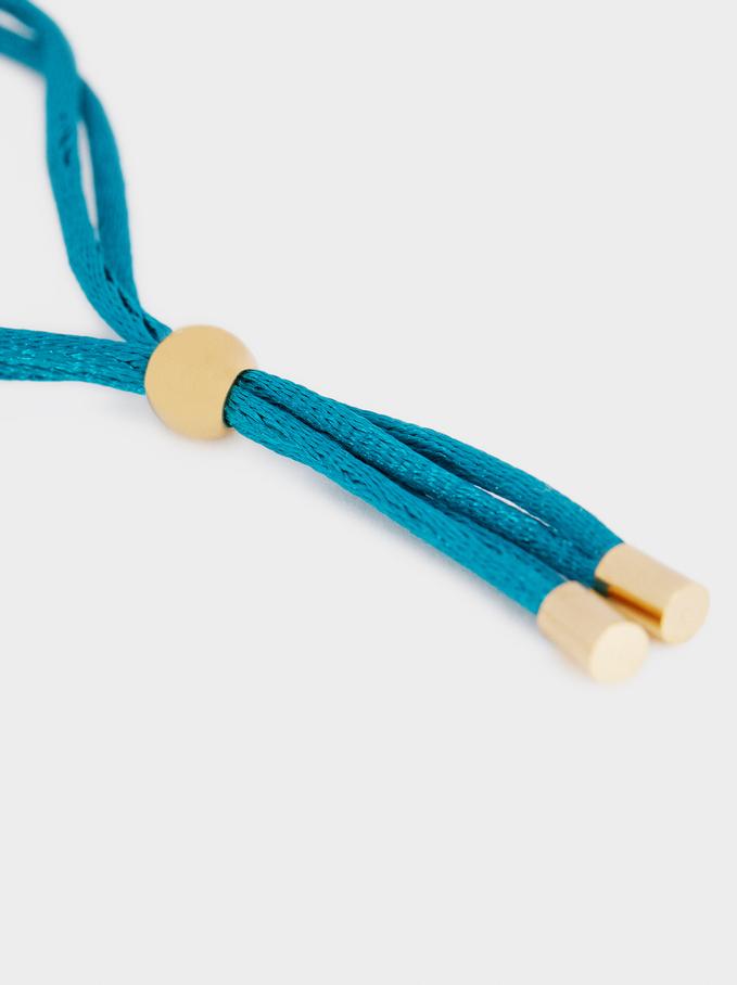 Gold Stainless Steel Adjustable Bracelet With Cross Detail, Grey, hi-res